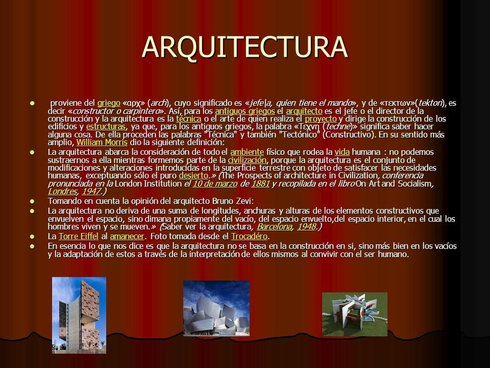 ARQUITECTURA proviene del griego «αρχ» (arch), cuyo significado es «jefe\a, quien tiene el mando», y de «τεκτων»(tekton), es decir «constructor o carp
