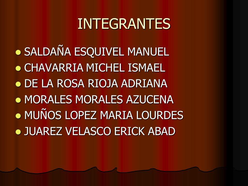 INTEGRANTES SALDAÑA ESQUIVEL MANUEL SALDAÑA ESQUIVEL MANUEL CHAVARRIA MICHEL ISMAEL CHAVARRIA MICHEL ISMAEL DE LA ROSA RIOJA ADRIANA DE LA ROSA RIOJA ADRIANA MORALES MORALES AZUCENA MORALES MORALES AZUCENA MUÑOS LOPEZ MARIA LOURDES MUÑOS LOPEZ MARIA LOURDES JUAREZ VELASCO ERICK ABAD JUAREZ VELASCO ERICK ABAD