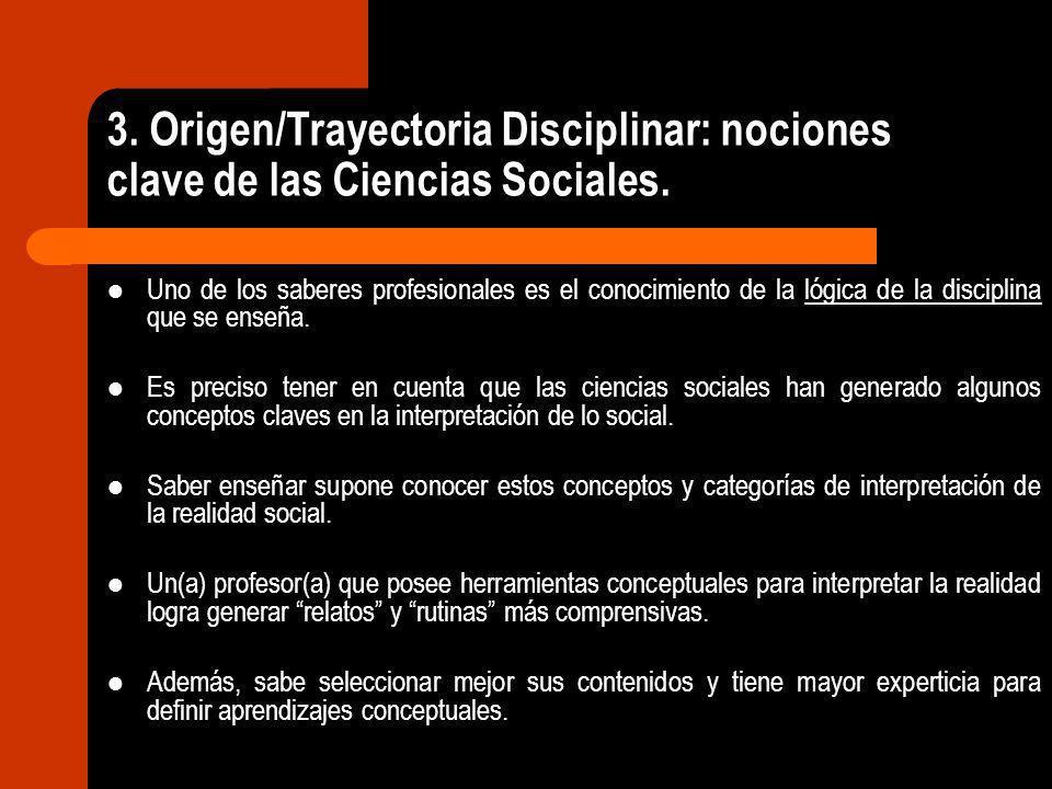 3. Origen/Trayectoria Disciplinar: nociones clave de las Ciencias Sociales. Uno de los saberes profesionales es el conocimiento de la lógica de la dis