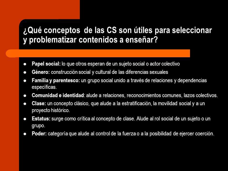 ¿Qué conceptos de las CS son útiles para seleccionar y problematizar contenidos a enseñar? Papel social: lo que otros esperan de un sujeto social o ac