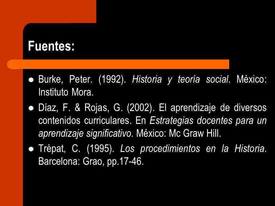 Fuentes: Burke, Peter. (1992). Historia y teoría social. México: Instituto Mora. Díaz, F. & Rojas, G. (2002). El aprendizaje de diversos contenidos cu
