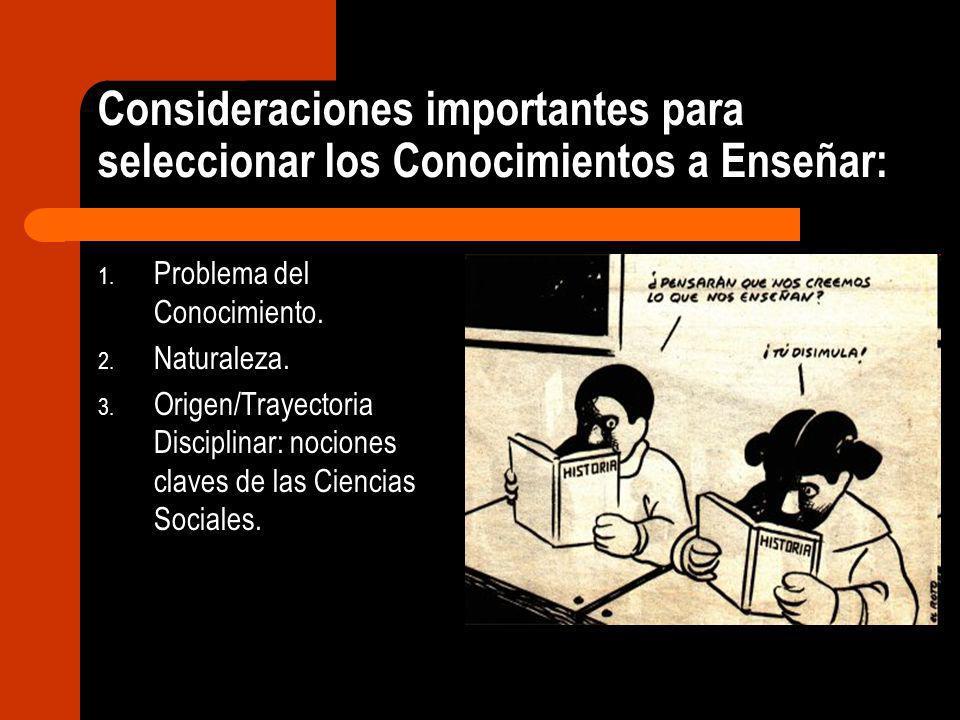 Consideraciones importantes para seleccionar los Conocimientos a Enseñar: 1. Problema del Conocimiento. 2. Naturaleza. 3. Origen/Trayectoria Disciplin