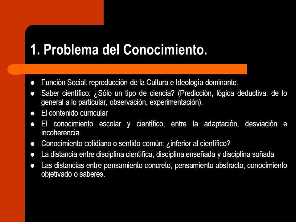 1. Problema del Conocimiento. Función Social: reproducción de la Cultura e Ideología dominante. Saber científico: ¿Sólo un tipo de ciencia? (Predicció