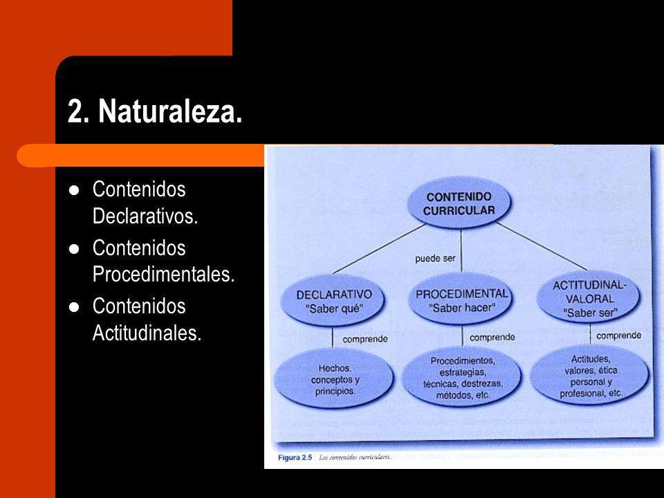 2. Naturaleza. Contenidos Declarativos. Contenidos Procedimentales. Contenidos Actitudinales.