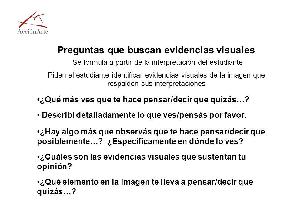 Preguntas que buscan evidencias visuales Se formula a partir de la interpretación del estudiante Piden al estudiante identificar evidencias visuales d