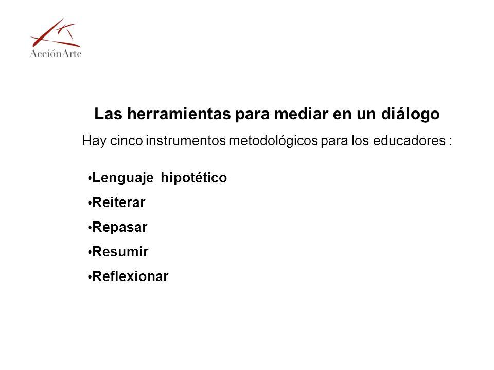 Las herramientas para mediar en un diálogo Hay cinco instrumentos metodológicos para los educadores : Lenguaje hipotético Reiterar Repasar Resumir Ref
