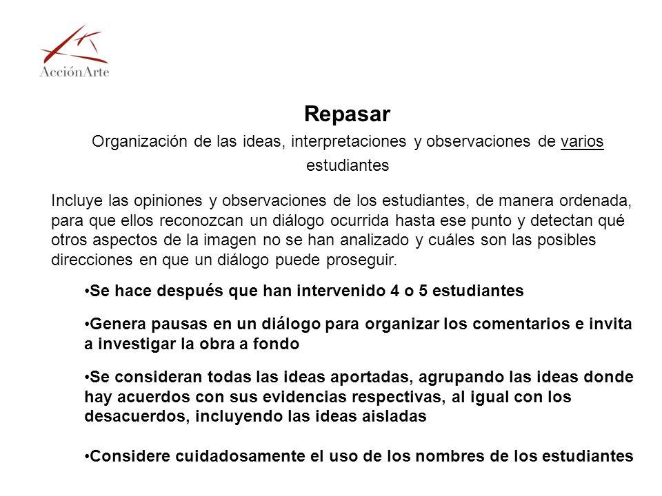 Repasar Organización de las ideas, interpretaciones y observaciones de varios estudiantes Incluye las opiniones y observaciones de los estudiantes, de