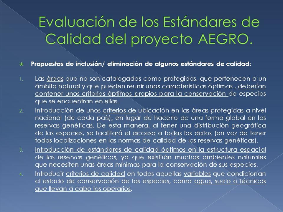 Propuestas de inclusión/ eliminación de algunos estándares de calidad: áreas 1. Las áreas que no son catalogadas como protegidas, que pertenecen a un