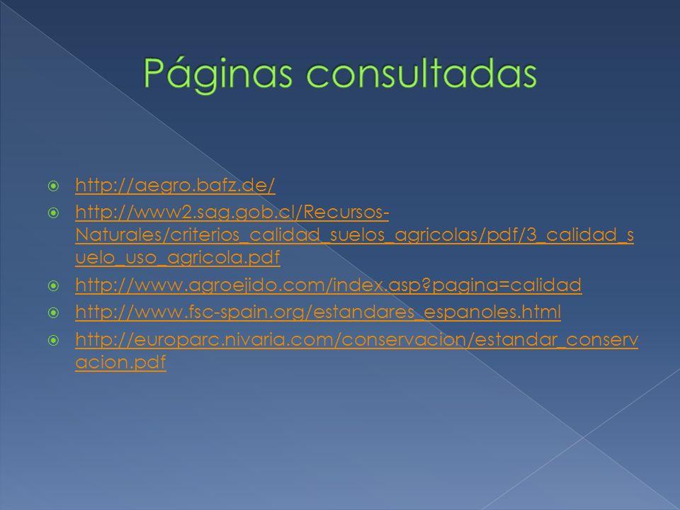 http://aegro.bafz.de/ http://www2.sag.gob.cl/Recursos- Naturales/criterios_calidad_suelos_agricolas/pdf/3_calidad_s uelo_uso_agricola.pdf http://www2.