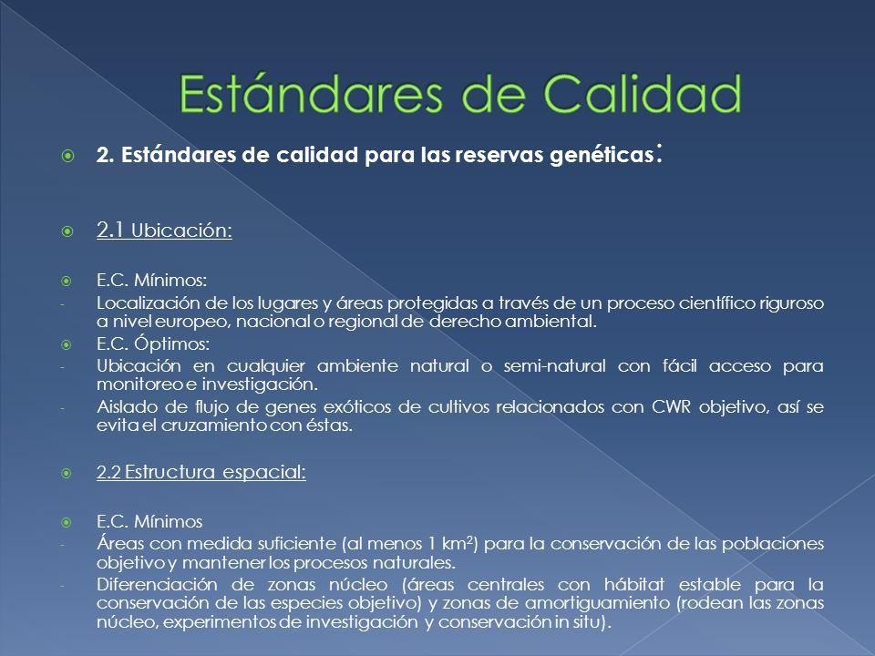 2. Estándares de calidad para las reservas genéticas : 2.1 Ubicación: E.C. Mínimos: - Localización de los lugares y áreas protegidas a través de un pr