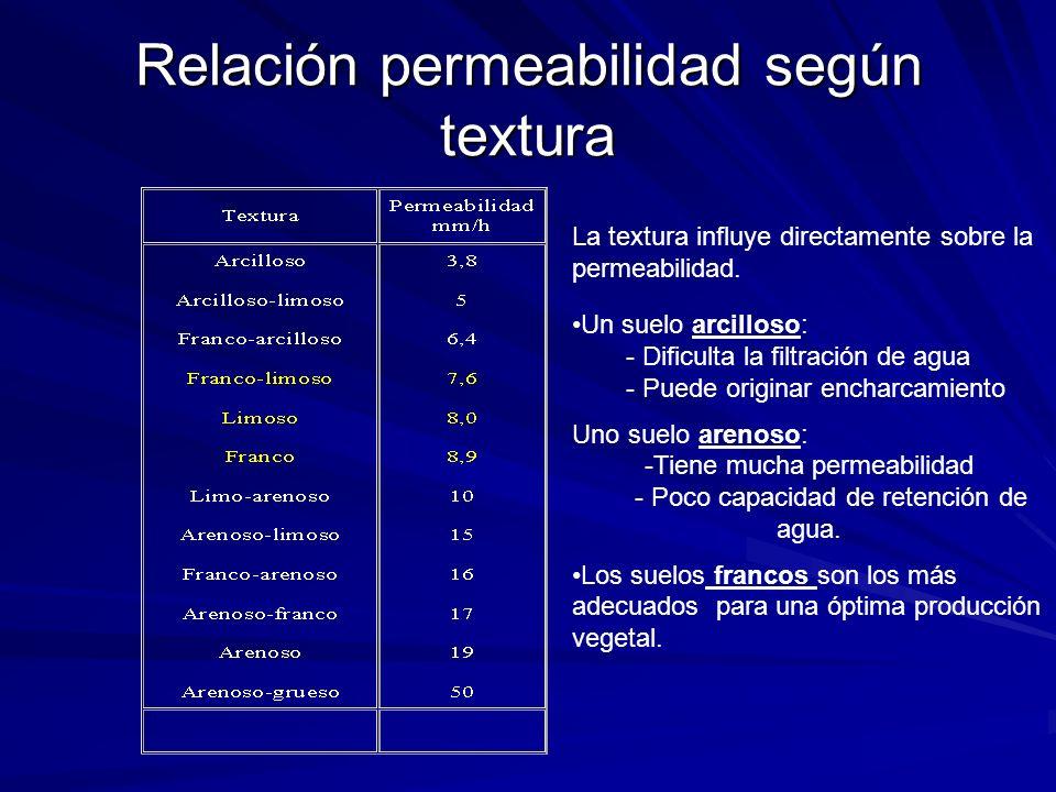 Relación permeabilidad según textura La textura influye directamente sobre la permeabilidad. Un suelo arcilloso: - Dificulta la filtración de agua - P