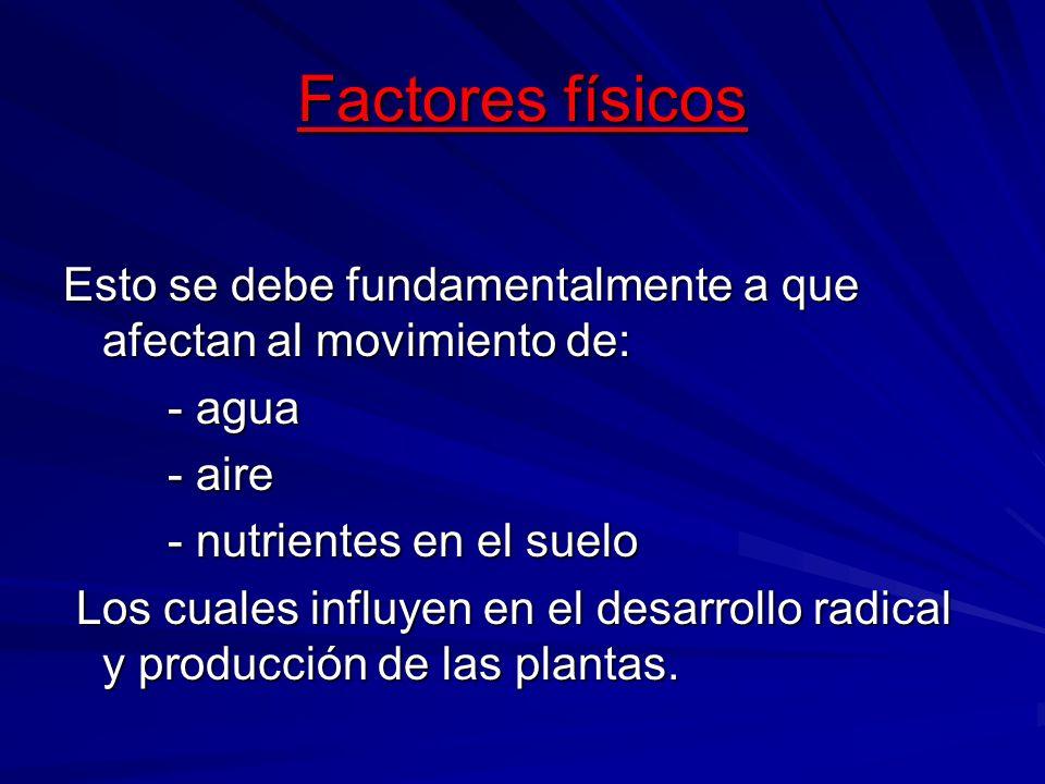 Factores físicos Esto se debe fundamentalmente a que afectan al movimiento de: - agua - agua - aire - aire - nutrientes en el suelo - nutrientes en el