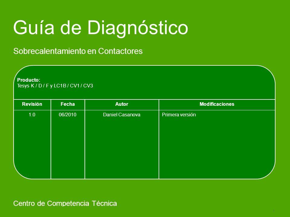 Schneider Electric 1 - Centro Competencia Técnica- Javier Aracil – 02.2010 Guía de Diagnóstico Sobrecalentamiento en Contactores Centro de Competencia