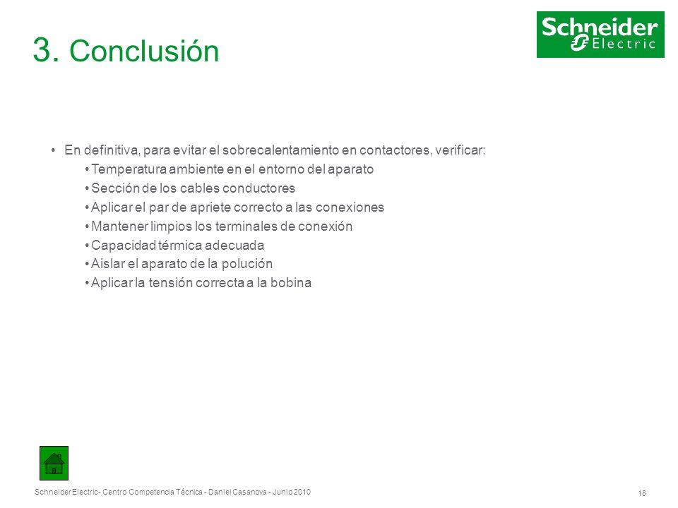 Schneider Electric 18 - Centro Competencia Técnica - Daniel Casanova - Junio 2010 3. Conclusión En definitiva, para evitar el sobrecalentamiento en co