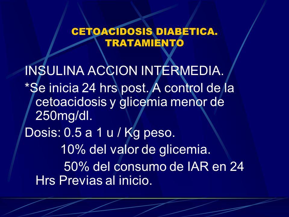 CETOACIDOSIS DIABETICA. TRATAMIENTO INSULINA ACCION INTERMEDIA. *Se inicia 24 hrs post. A control de la cetoacidosis y glicemia menor de 250mg/dl. Dos