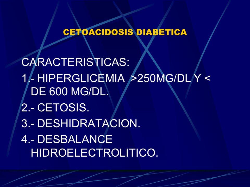 CETOACIDOSIS DIABETICA CARACTERISTICAS: 1.- HIPERGLICEMIA >250MG/DL Y < DE 600 MG/DL. 2.- CETOSIS. 3.- DESHIDRATACION. 4.- DESBALANCE HIDROELECTROLITI