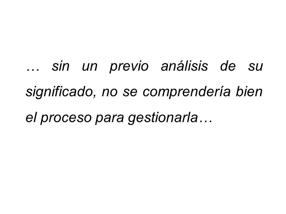 … sin un previo análisis de su significado, no se comprendería bien el proceso para gestionarla…