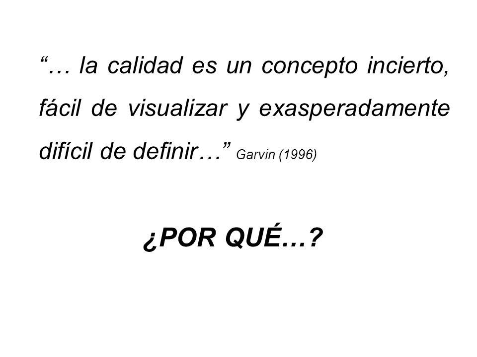 … la calidad es un concepto incierto, fácil de visualizar y exasperadamente difícil de definir… Garvin (1996) ¿POR QUÉ…
