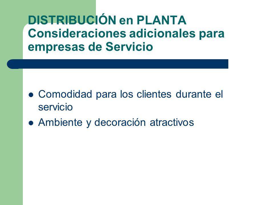 DISTRIBUCIÓN en PLANTA Consideraciones adicionales para empresas de Servicio Comodidad para los clientes durante el servicio Ambiente y decoración atr