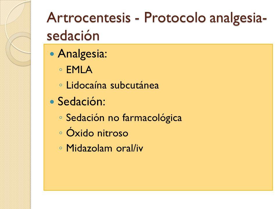 Artrocentesis - Protocolo analgesia- sedación Analgesia: EMLA Lidocaína subcutánea Sedación: Sedación no farmacológica Óxido nitroso Midazolam oral/iv