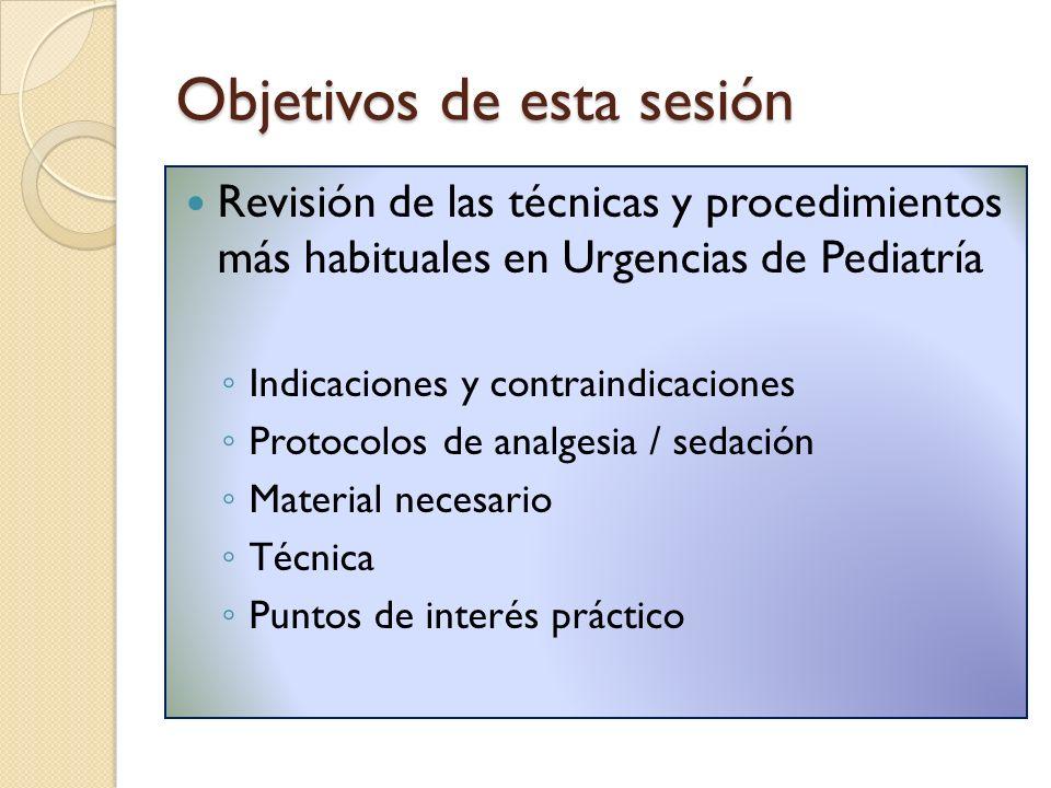 Objetivos de esta sesión Revisión de las técnicas y procedimientos más habituales en Urgencias de Pediatría Indicaciones y contraindicaciones Protocol