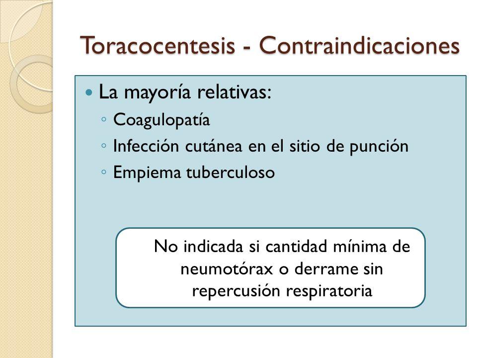 Toracocentesis - Contraindicaciones La mayoría relativas: Coagulopatía Infección cutánea en el sitio de punción Empiema tuberculoso No indicada si can