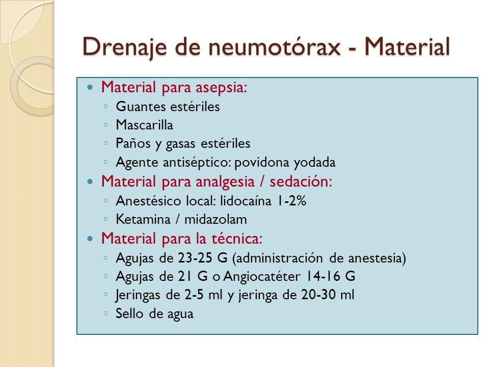 Drenaje de neumotórax - Material Material para asepsia: Guantes estériles Mascarilla Paños y gasas estériles Agente antiséptico: povidona yodada Mater