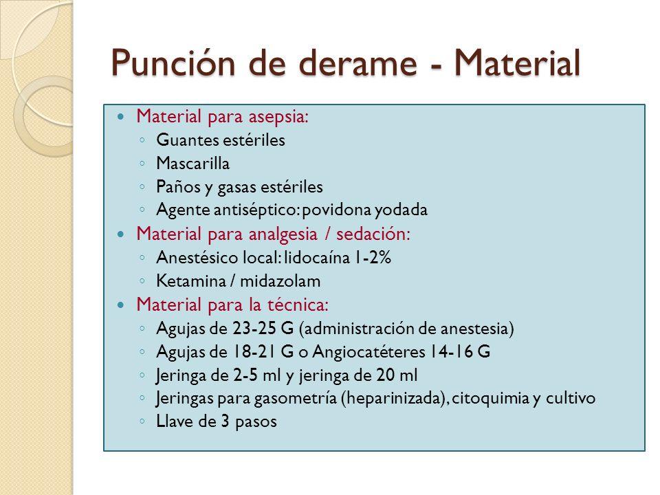 Punción de derame - Material Material para asepsia: Guantes estériles Mascarilla Paños y gasas estériles Agente antiséptico: povidona yodada Material