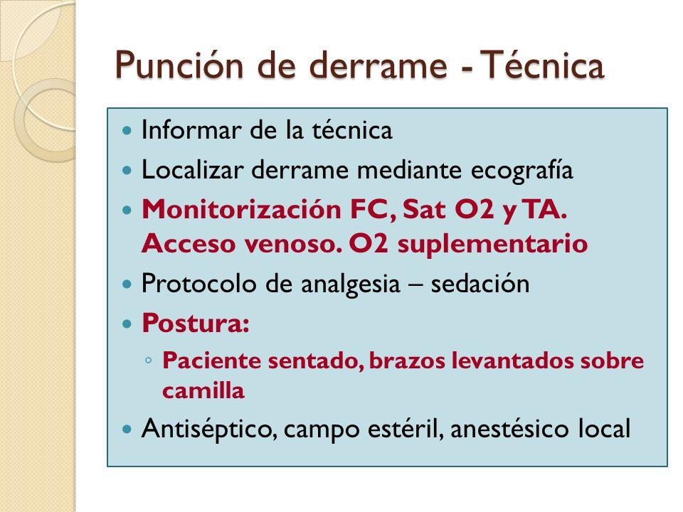 Punción de derrame - Técnica Informar de la técnica Localizar derrame mediante ecografía Monitorización FC, Sat O2 y TA. Acceso venoso. O2 suplementar