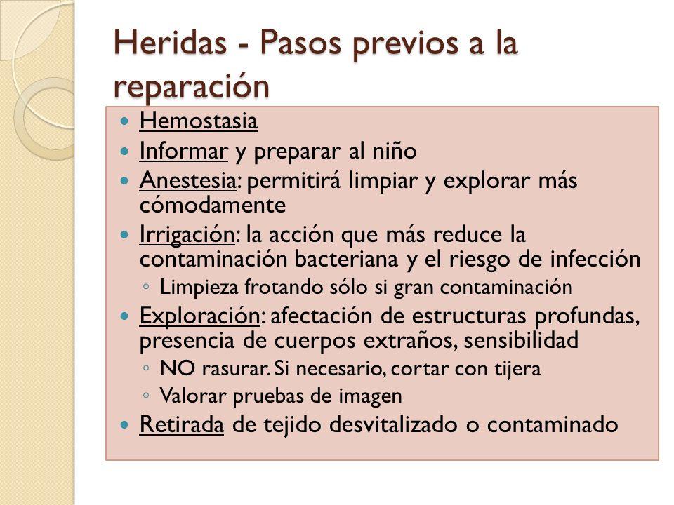 Heridas - Pasos previos a la reparación Hemostasia Informar y preparar al niño Anestesia: permitirá limpiar y explorar más cómodamente Irrigación: la