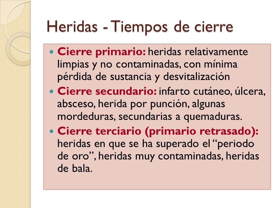 Heridas - Tiempos de cierre Cierre primario: heridas relativamente limpias y no contaminadas, con mínima pérdida de sustancia y desvitalización Cierre