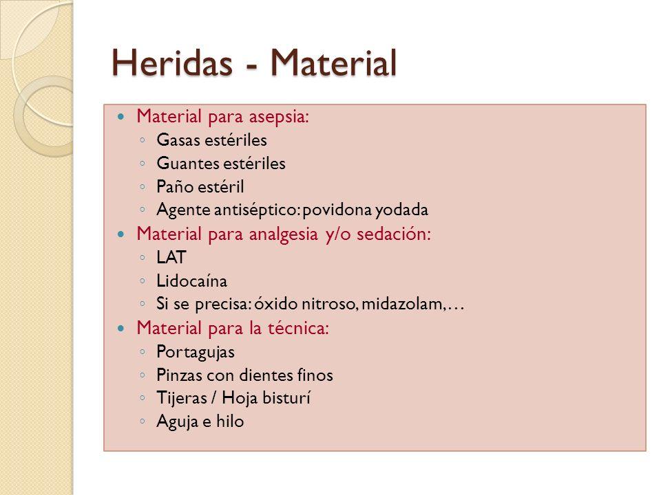 Heridas - Material Material para asepsia: Gasas estériles Guantes estériles Paño estéril Agente antiséptico: povidona yodada Material para analgesia y