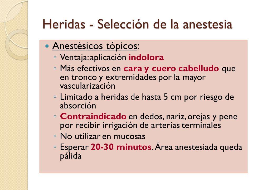 Heridas - Selección de la anestesia Anestésicos tópicos: Ventaja: aplicación indolora Más efectivos en cara y cuero cabelludo que en tronco y extremid