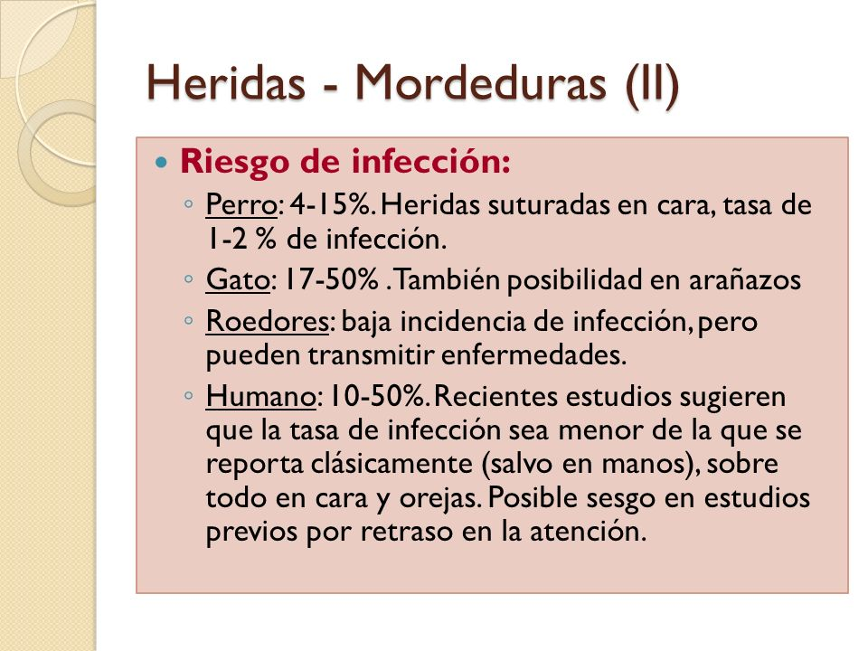 Heridas - Mordeduras (II) Riesgo de infección: Perro: 4-15%. Heridas suturadas en cara, tasa de 1-2 % de infección. Gato: 17-50%.También posibilidad e