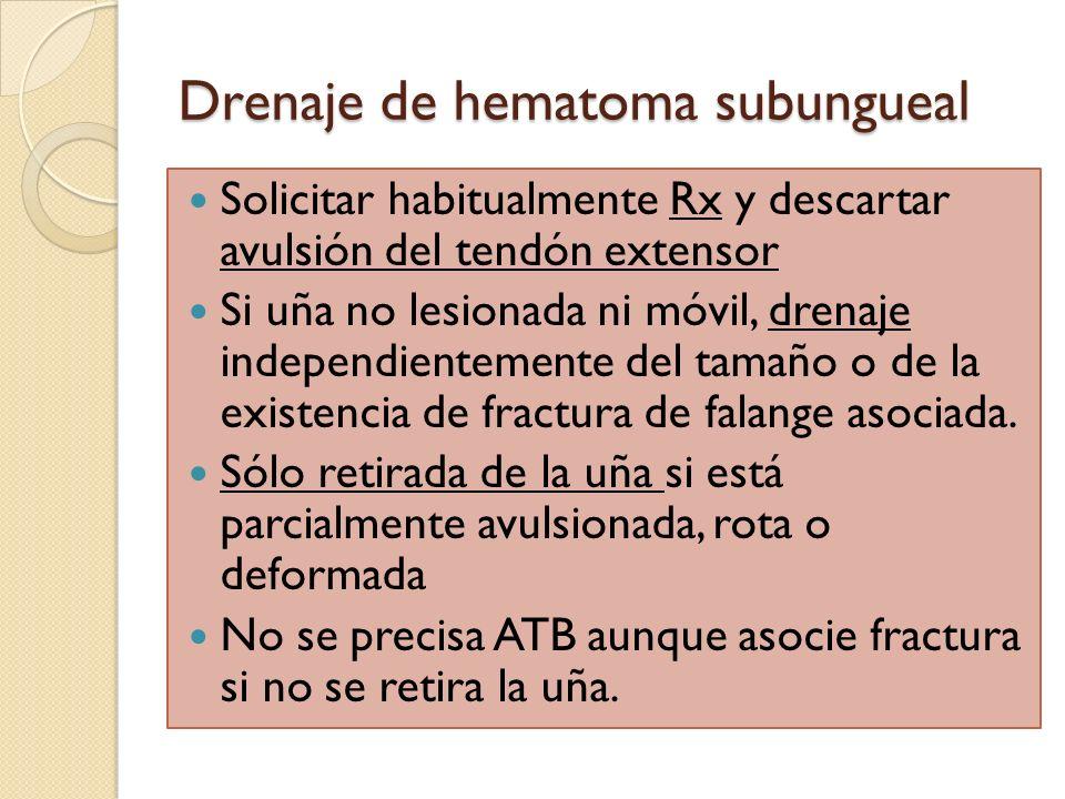 Drenaje de hematoma subungueal Solicitar habitualmente Rx y descartar avulsión del tendón extensor Si uña no lesionada ni móvil, drenaje independiente