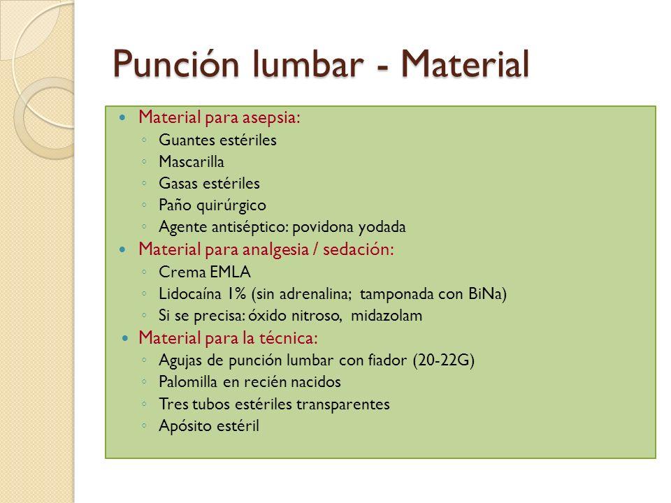 Punción lumbar - Material Material para asepsia: Guantes estériles Mascarilla Gasas estériles Paño quirúrgico Agente antiséptico: povidona yodada Mate