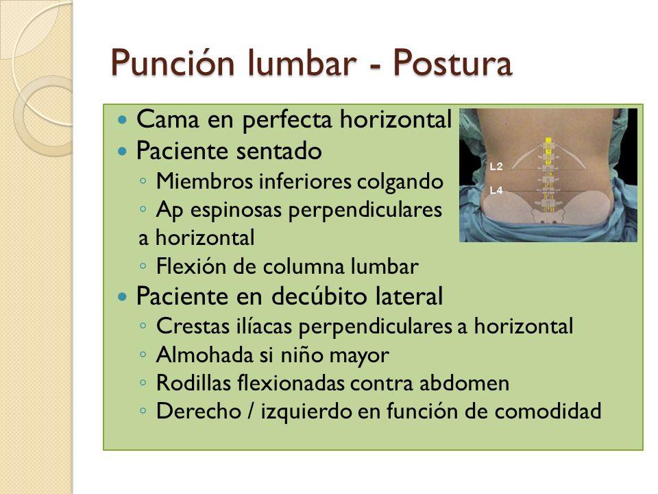 Punción lumbar - Postura Cama en perfecta horizontal Paciente sentado Miembros inferiores colgando Ap espinosas perpendiculares a horizontal Flexión d