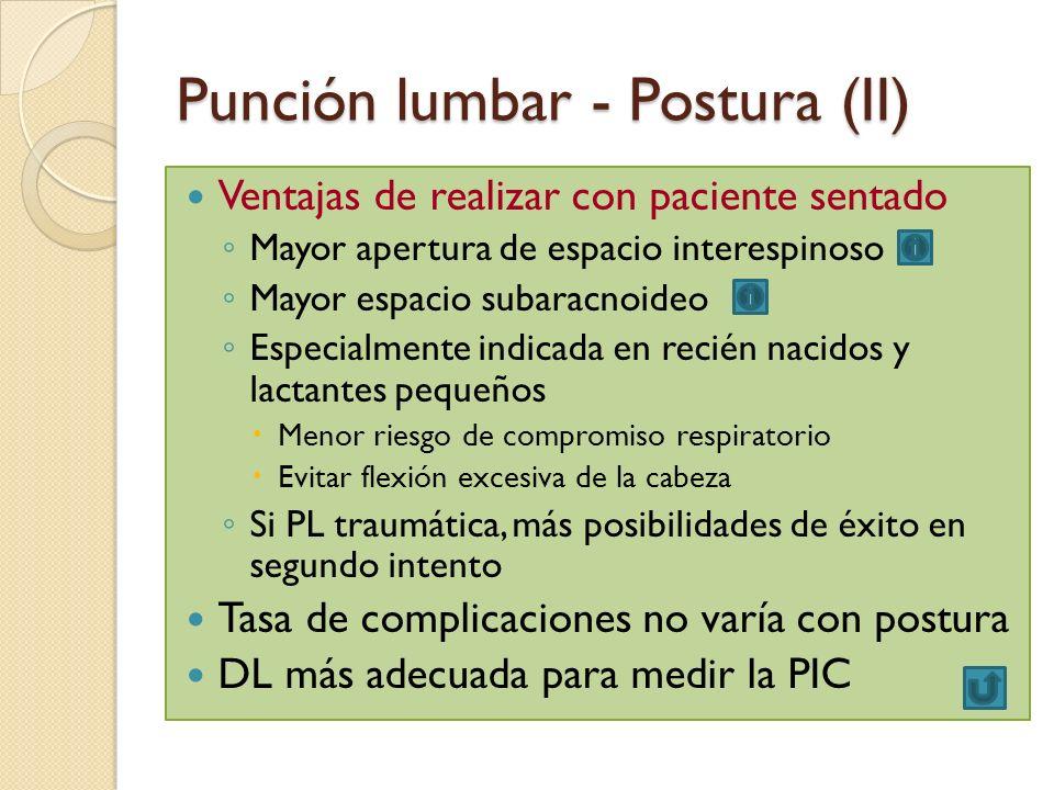 Punción lumbar - Postura (II) Ventajas de realizar con paciente sentado Mayor apertura de espacio interespinoso Mayor espacio subaracnoideo Especialme