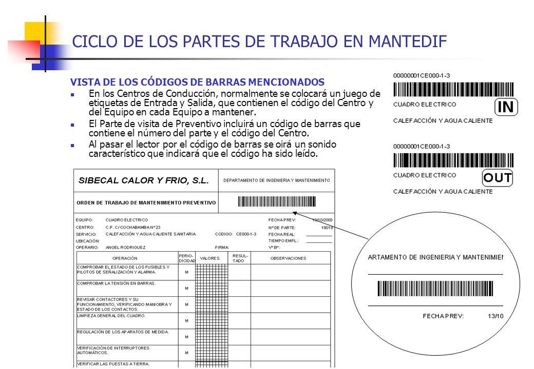 CICLO DE LOS PARTES DE TRABAJO EN MANTEDIF VISTA DE LOS CÓDIGOS DE BARRAS MENCIONADOS En los Centros de Conducción, normalmente se colocará un juego d