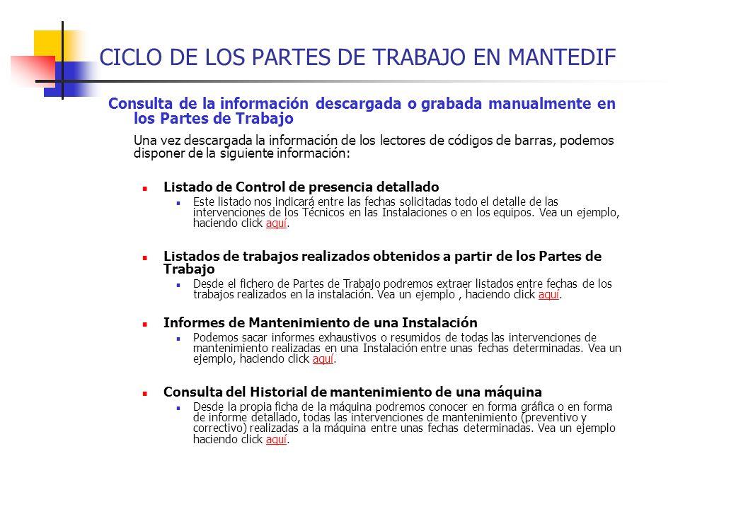 CICLO DE LOS PARTES DE TRABAJO EN MANTEDIF Consulta de la información descargada o grabada manualmente en los Partes de Trabajo Una vez descargada la