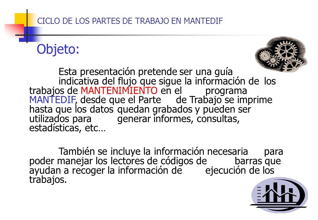 Esta presentación pretende ser una guía indicativa del flujo que sigue la información de los trabajos de MANTENIMIENTO en el programa MANTEDIF, desde