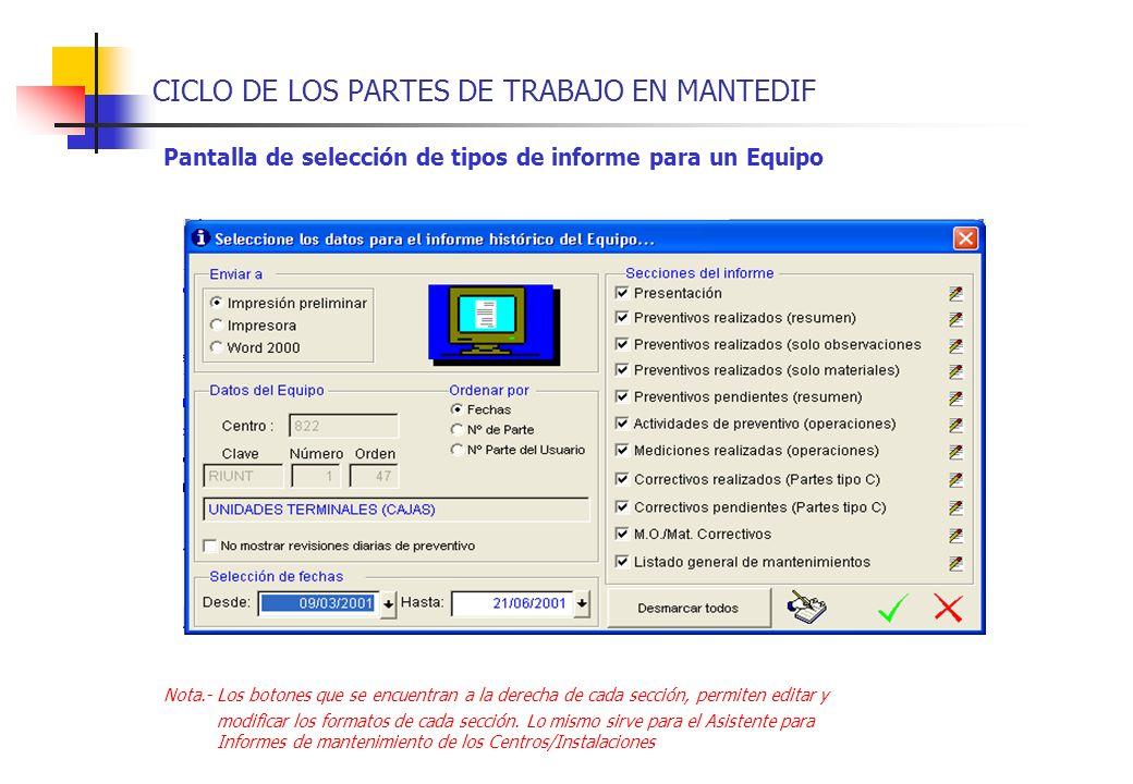 CICLO DE LOS PARTES DE TRABAJO EN MANTEDIF Pantalla de selección de tipos de informe para un Equipo Nota.-Los botones que se encuentran a la derecha d
