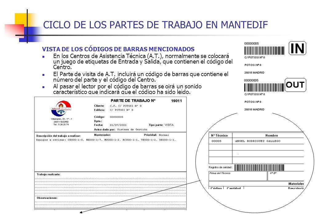 CICLO DE LOS PARTES DE TRABAJO EN MANTEDIF VISTA DE LOS CÓDIGOS DE BARRAS MENCIONADOS En los Centros de Asistencia Técnica (A.T.), normalmente se colo