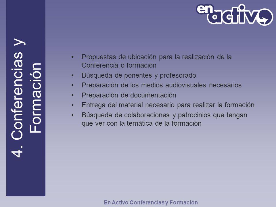 Propuestas de ubicación para la realización de la Conferencia o formación Búsqueda de ponentes y profesorado Preparación de los medios audiovisuales n