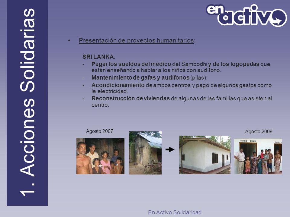 Presentación de proyectos humanitarios: SRI LANKA: -Pagar los sueldos del médico del Sambodhi y de los logopedas que están enseñando a hablar a los ni