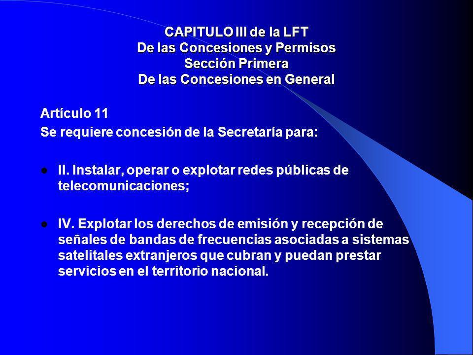 CAPITULO III de la LFT De las Concesiones y Permisos Sección Primera De las Concesiones en General Artículo 11 Se requiere concesión de la Secretaría para: II.
