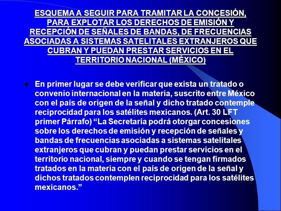 ESQUEMA A SEGUIR PARA TRAMITAR LA CONCESIÓN, PARA EXPLOTAR LOS DERECHOS DE EMISIÓN Y RECEPCIÓN DE SEÑALES DE BANDAS, DE FRECUENCIAS ASOCIADAS A SISTEMAS SATELITALES EXTRANJEROS QUE CUBRAN Y PUEDAN PRESTAR SERVICIOS EN EL TERRITORIO NACIONAL (MÉXICO) En primer lugar se debe verificar que exista un tratado o convenio internacional en la materia, suscrito entre México con el país de origen de la señal y dicho tratado contemple reciprocidad para los satélites mexicanos.