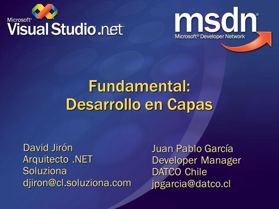 Fundamental: Desarrollo en Capas David Jirón Arquitecto.NET Soluzionadjiron@cl.soluziona.com Juan Pablo García Developer Manager DATCO Chile jpgarcia@