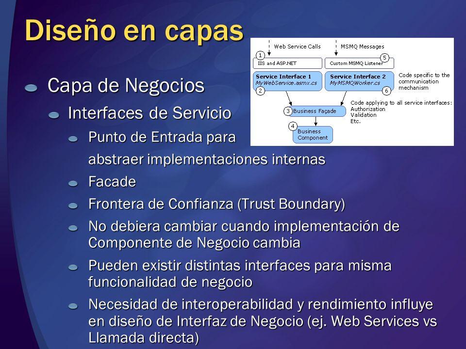 Diseño en capas Capa de Negocios Interfaces de Servicio Punto de Entrada para abstraer implementaciones internas Facade Frontera de Confianza (Trust B