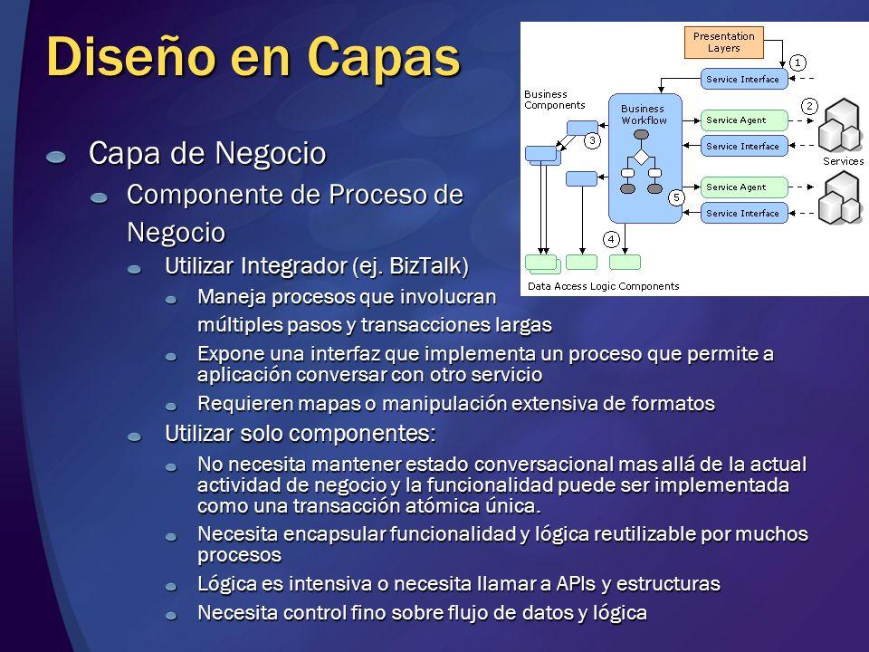 Diseño en Capas Capa de Negocio Componente de Proceso de Negocio Utilizar Integrador (ej. BizTalk) Maneja procesos que involucran múltiples pasos y tr